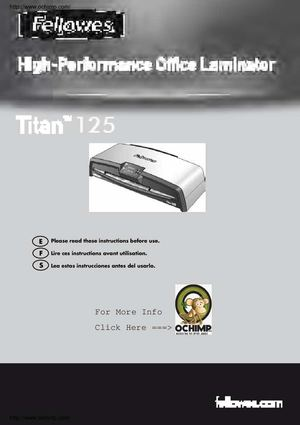 Fellowes Titan TL 125 Laminator And Pouch Kit Manual
