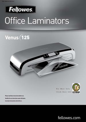 Fellowes Venus VL125 Laminating Machine 12-1/2 Manual