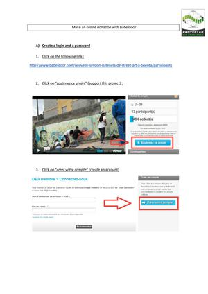 Instructions in English to make a donation to the campaign of Crowdfunding