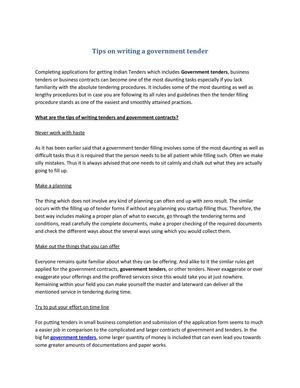 Tips on writing a government tender