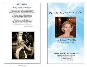 Jane Wicker Funeral Program