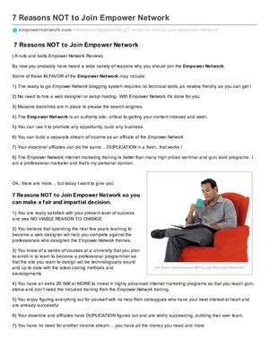 7 Reasons NOT to Join Empower Network
