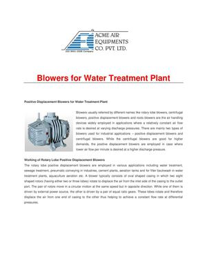 Blowers for Water Treatment Plant