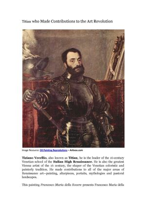 Titian who Made Contributions to the Art Revolution