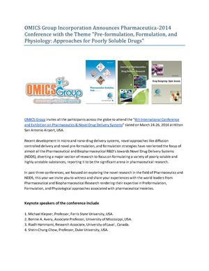 OMICS Group Incorporation Announces Pharmaceutica-2014 Conference