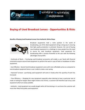 Buying of Used Broadcast Lenses - Opportunities & Risks | DigiBroadcast