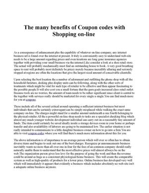 The many benefits of Coupon codes with Shopping on-line