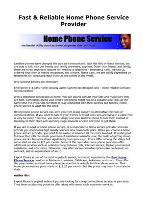 Fast & Reliable Home Phone Service Provider