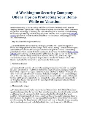 A Washington Security Company Offers Tips on Protecting Your Home While on Vacation