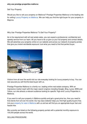 Why Use Prestige Properties Mallorca To Sell Your Property?