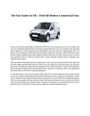 The Van Trader In UK – Find All Modern Commercial Vans
