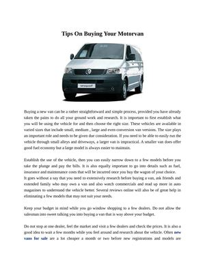 Tips On Buying Your Motorvan