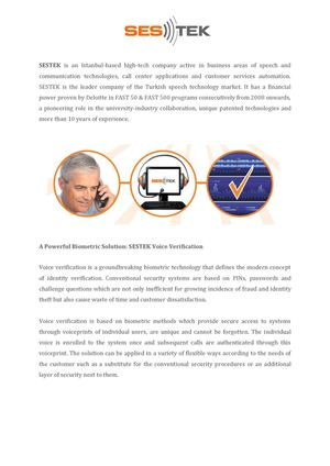 SESTEK Voice Verification White Paper