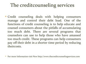 The creditcounseling services