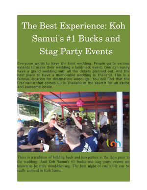 Reasons to Choose Hen's Parties in Koh Samui