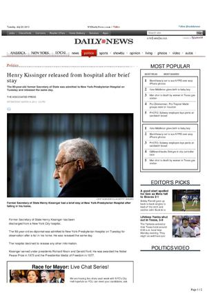 Henry Kissinger released from hospital after brief stay, March 6th, 2013 (THE ASSOCIATED PRESS) New York Daily News.Com