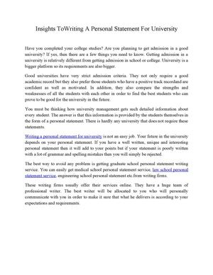 personal statement criteria