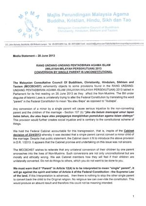 MCCBCHST Media Statement- 28.06.2013