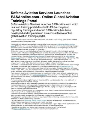 Calaméo - Sofema Aviation Services Launches EASAonline com