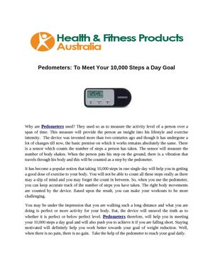 Pedometers: To Meet Your 10,000 Steps a Day Goal