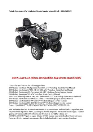 polaris sportsman 6x6 2007 workshop service repair manual