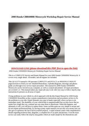 calam o 2008 honda cbr600rr motorcycle workshop repair service manual rh calameo com 2008 honda cbr600rr service manual pdf 2006 honda cbr600rr service manual