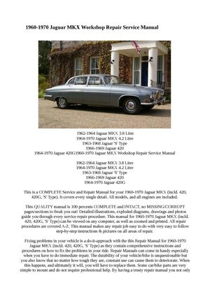 "Jaguar S-Type 1963-1968 Workshop Manual sent as a /""Download/"""