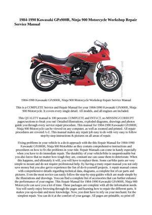 calam o 1984 1990 kawasaki gpz900r ninja 900 motorcycle workshop rh calameo com 1992 Kawasaki Ninja 900 1992 Kawasaki Ninja 900