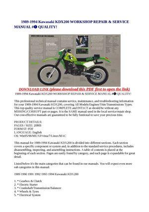 Calaméo - 1989-1994 Kawasaki KDX200 WORKSHOP REPAIR ... on