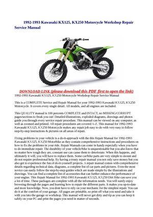calam o 1992 1993 kawasaki kx125 kx250 motorcycle workshop repair rh calameo com 91 KX250 91 KX250