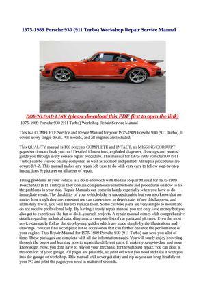 Calameo 1975 1989 Porsche 930 911 Turbo Workshop Repair Service Manual