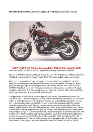 calam o 1983 1985 honda cb550sc cb650sc nighthawk workshop repair rh calameo com
