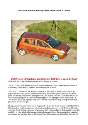 calam o 2004 2006 kia picanto workshop repair service manual in german rh calameo com kia picanto repair manual pdf download kia picanto 2005 service repair manual