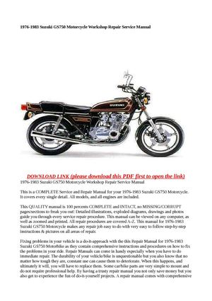 calam o 1976 1983 suzuki gs750 motorcycle workshop repair service rh calameo com 1980 Suzuki GS 750 1978 suzuki gs750 service manual pdf