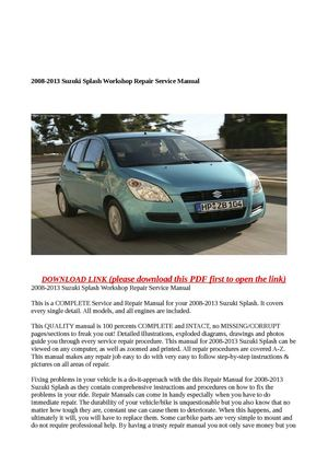 Official workshop manual service repair for suzuki swift rs413.