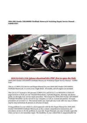 calam o 2004 2005 honda cbr1000rr fireblade motorcycle workshop rh calameo com honda cbr 919 rr fireblade service manual honda cbr1000rr service manual