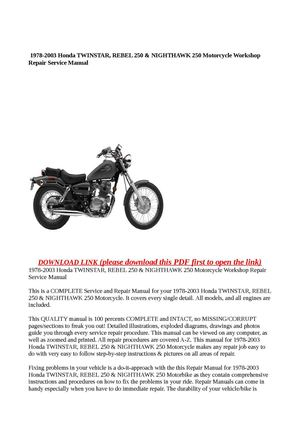 Calameo 1978 2003 Honda Twinstar Rebel 250 Nighthawk 250 Motorcycle Workshop Repair Service Manual