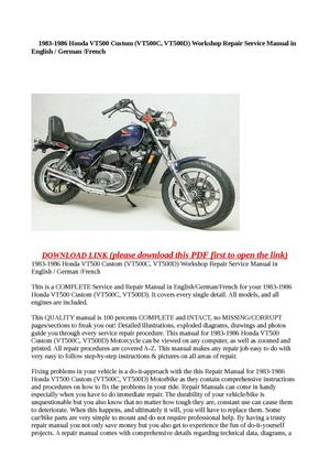1983 1986 Honda VT500 Custom VT500C VT500D Workshop Repair Service Manual In