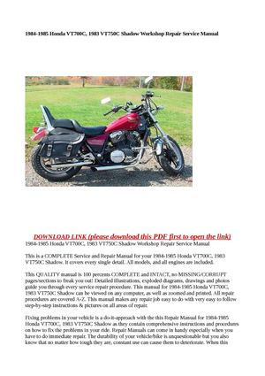 calam o 1984 1985 honda vt700c 1983 vt750c shadow workshop repair rh calameo com 83 honda shadow 750 owners manual 1983 honda shadow 750 service manual free download