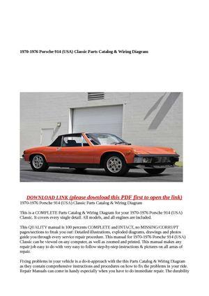 calam o 1970 1976 porsche 914 usa classic parts catalog wiring rh calameo com Porsche 914 6 Wiring Diagram Porsche 914 6 Wiring Diagram