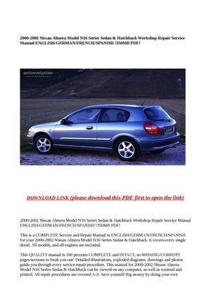 Calaméo - 2000-2002 Nissan Almera Model N16 Series Sedan & Hatchback