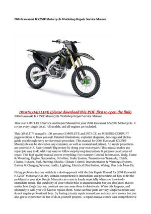 calam o 2004 kawasaki kx250f motorcycle workshop repair service manual rh calameo com 2004 kx250f manual pdf 2004 kawasaki kx250f manual pdf