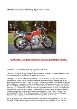 1980-1982 Kawasaki KZ440 Workshop Repair Service Manual