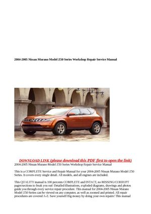 nissan murano z50 pdf