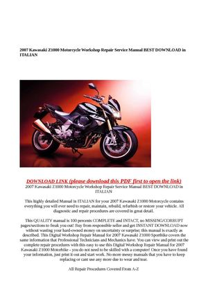 2007 Kawasaki Z1000 Motorcycle Workshop Repair Service Manual B