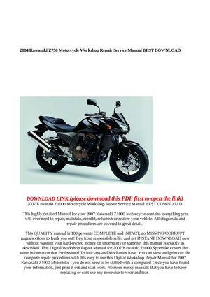 calam o 2004 kawasaki z750 motorcycle workshop repair service rh calameo com Customer Service Books Auto Repair Manual