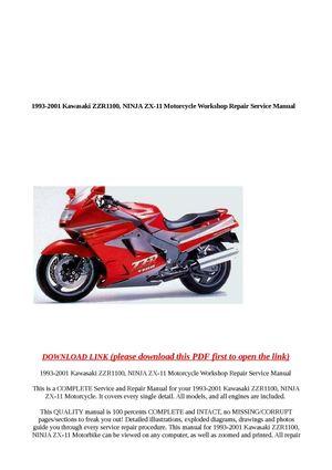 calaméo - 1993-2001 kawasaki zzr1100, ninja zx-11 motorcycle workshop rep  calaméo