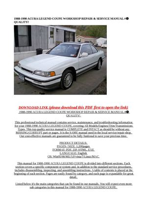 calam o 1988 1990 acura legend coupe workshop repair service rh calameo com 1993 Acura Legend 1996 Acura Legend