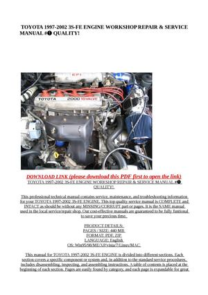 calam o toyota 1997 2002 3s fe engine workshop repair rh calameo com Toyota 3.4 Engine Toyota 2200 Engine