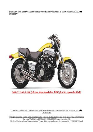 Calaméo - YAMAHA 1985-2003 VMX1200 VMax WORKSHOP REPA